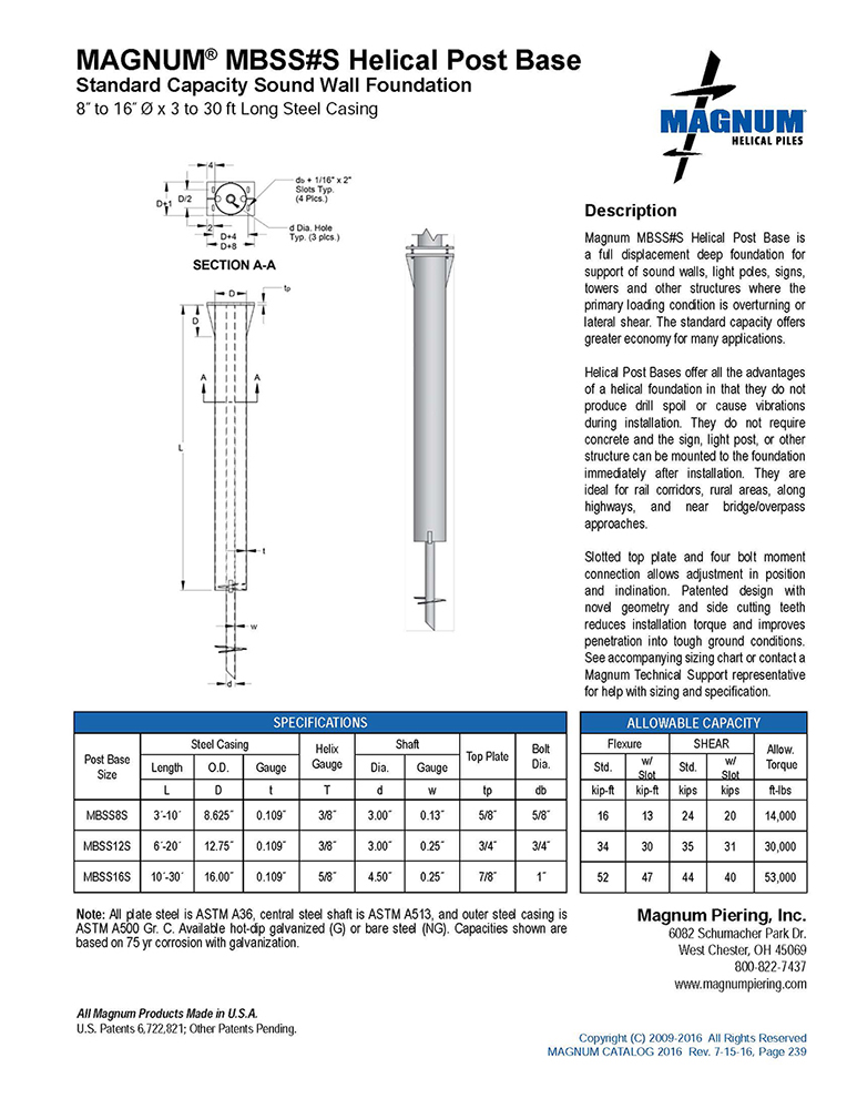 MBSS#S Helical Post Base