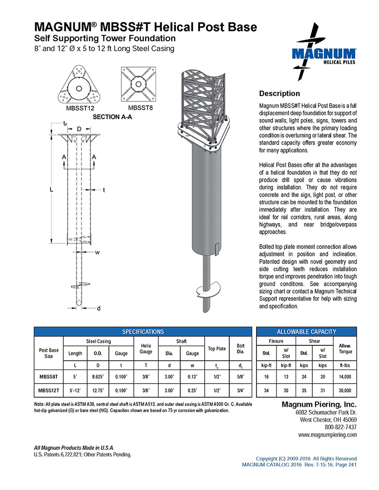 MBSS#T Helical Post Base