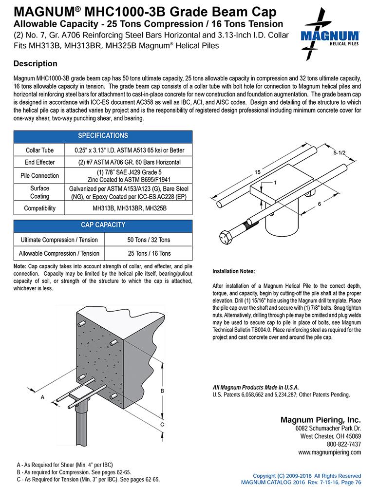 MHC1000-3B Grade Beam Cap Specifications Sheet