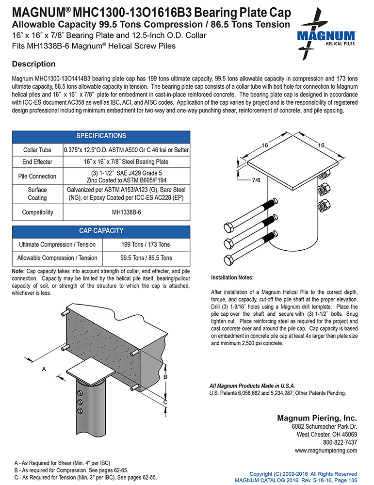 MHC1300-13O1616B3 Bearing Plate Cap Specifications Sheet