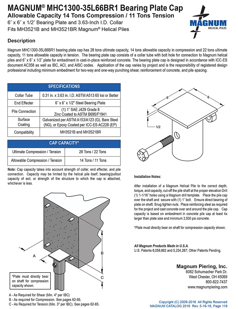 MHC1300-35L66BR1 Bearing Plate Cap Specifications Sheet