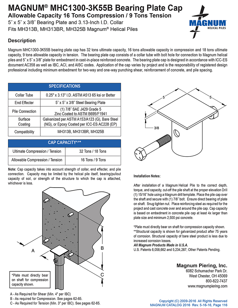 MHC1300-3K55B Bearing Plate Cap Specifications Sheet