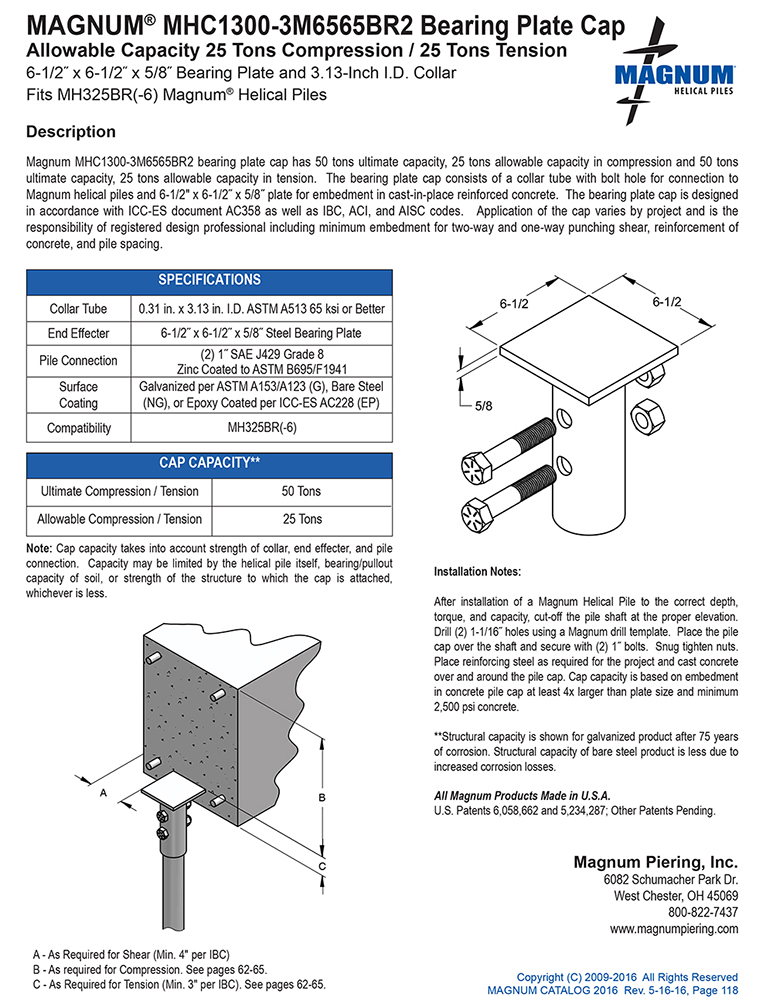 MHC1300-3M6565BR2 Bearing Plate Cap Specifications Sheet