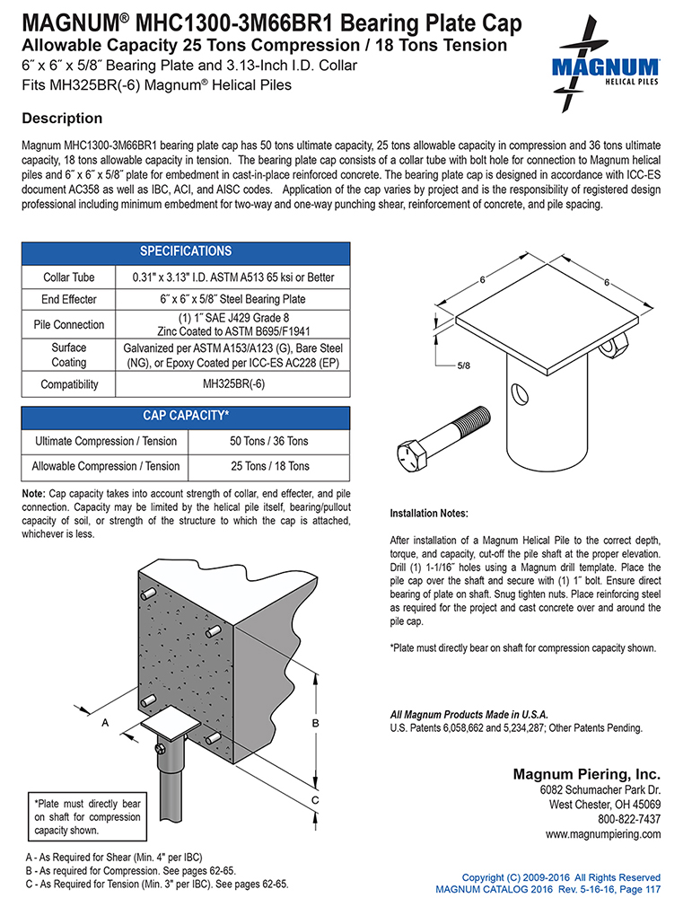 MHC1300-3M66BR1 Bearing Plate Cap Specifications Sheet