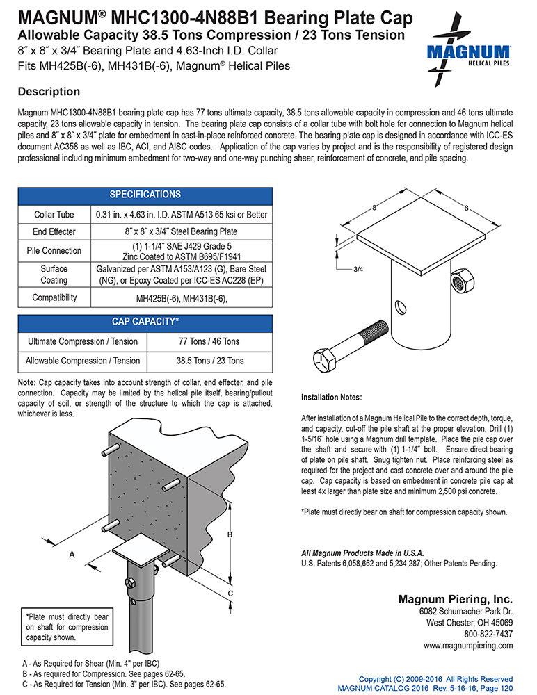MHC1300-4N88B1 Bearing Plate Cap Specifications Sheet