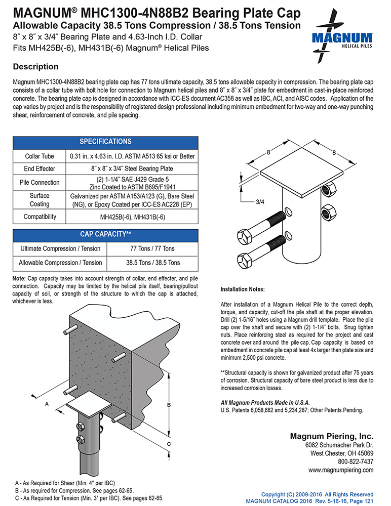 MHC1300-4N88B2 Bearing Plate Cap Specifications Sheet
