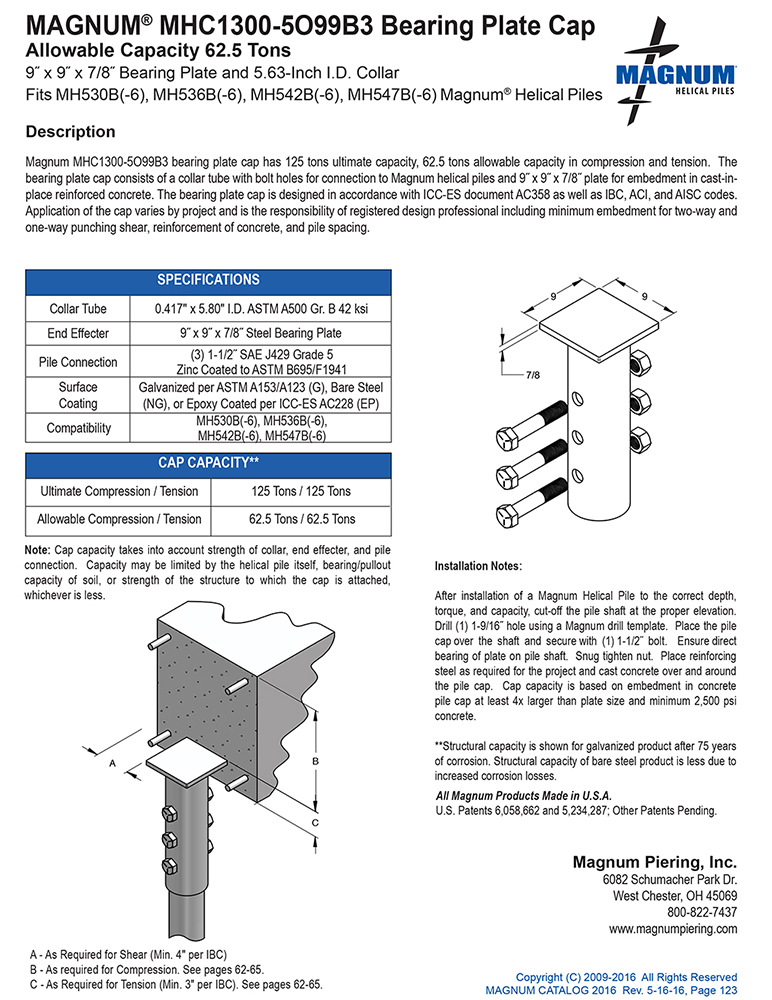 MHC1300-5O99B3 Bearing Plate Cap Specifications Sheet
