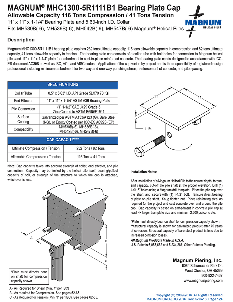 MHC1300-5R1111B1 Bearing Plate Cap Specifications Sheet
