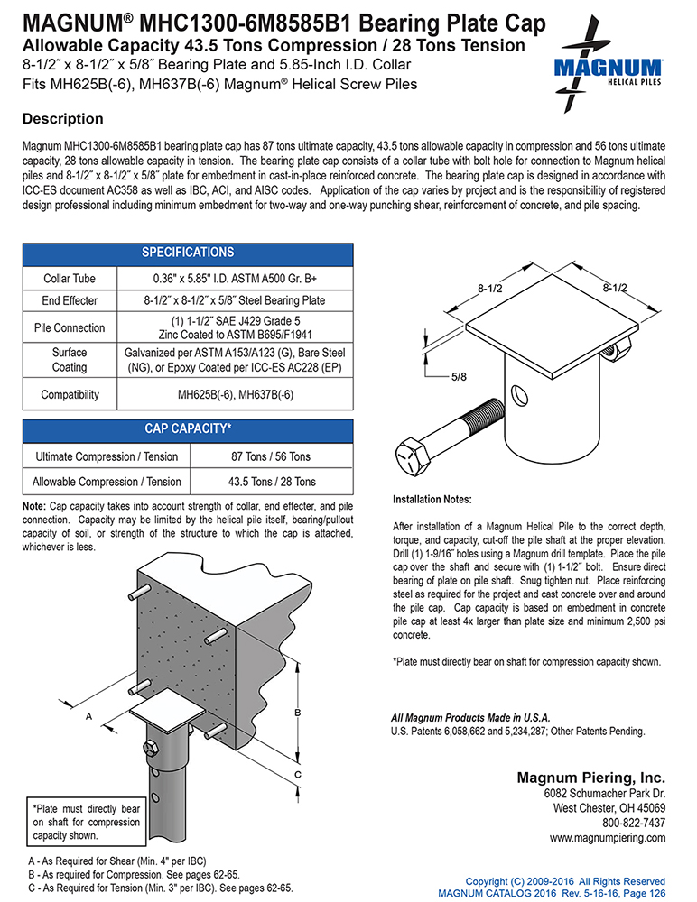 MHC1300-6M8585B1 Bearing Plate Cap Specifications Sheet
