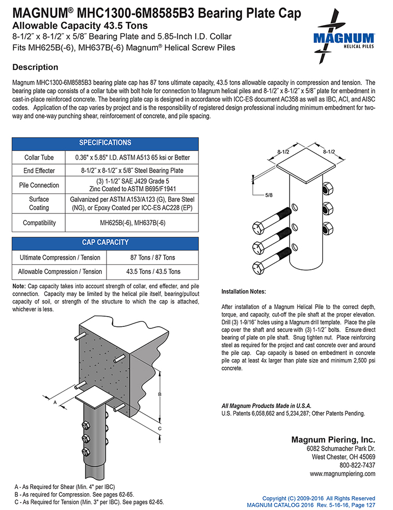 MHC1300-6M8585B3 Bearing Plate Cap Specifications Sheet