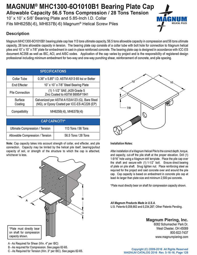 MHC1300-6O1010B1 Bearing Plate Cap Specifications Sheet
