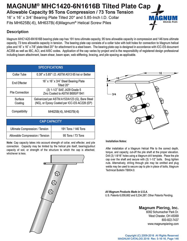 MHC1420-6N1616B Tilted Plate Cap Specifications Sheet