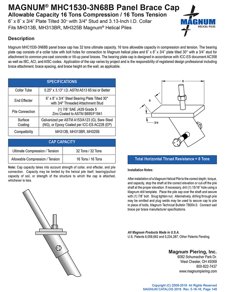 MHC1530-3N68B Panel Brace Cap Specifications Sheet