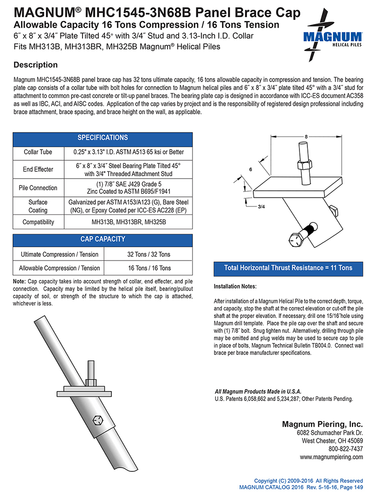 MHC1545-3N68B Panel Brace Cap Specifications Sheet