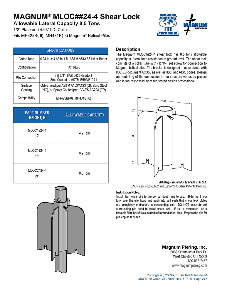 MAGNUM® MLOC##24-4 Shear Lock Data Sheet