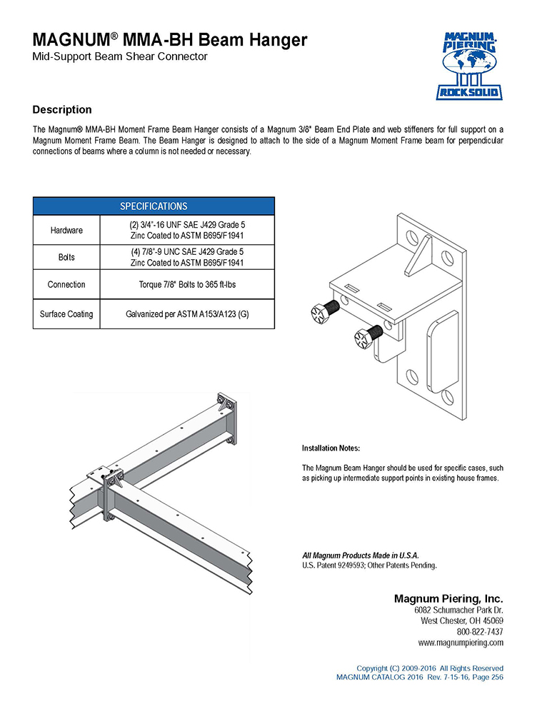 MAGNUM MMA-BH Base Hanger Data Sheet