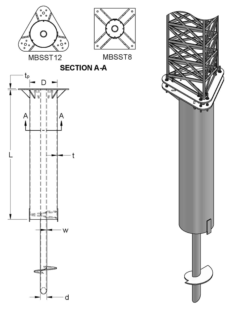 MAGNUM MBSS#T Helical Post Base