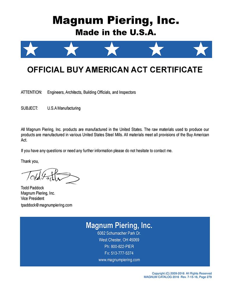 certificate piering magnum
