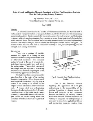 LATERAL LOADS AND BENDING MOMENT FROM PUSH PIER BRACKET - PAPER