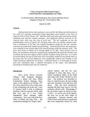 Steel Push Pier Underpinning Case Study