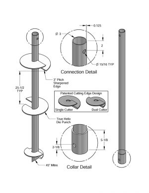 MAGNUM® MH313B Helical Pile Extension, 10 feet Long