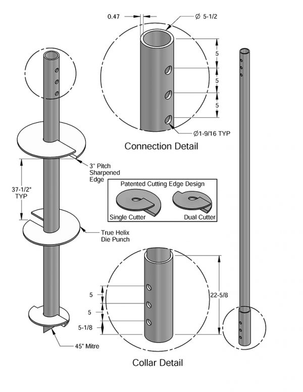 MAGNUM®® MH547B Helical Pile Extension, 10 feet Long